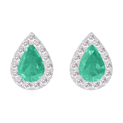 Earrings Create 201416 White gold 9 carats - Emerald Pear 0.3 Carats (2 X) - Halo Diamond white