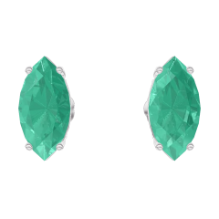 Earrings Create 201428 White gold 9 carats - Emerald Marquise 0.3 Carats (2 X)
