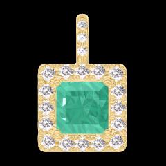 Hanger Create 207254 Geelgoud 9 karaat - Smaragd Prinses 0.3 Karaat - Halo Diamant - Setting Diamant - Geen ketting