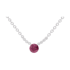 Necklace Create 201828 White gold 9 carats - Ruby round 0.3 Carats - Chain FORCAT