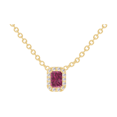 Necklace Create 201898 Yellow gold 9 carats - Ruby Baguette 0.3 Carats - Halo Diamond white - Chain FORCAT