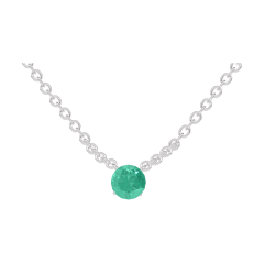 Necklace Create 202212 White gold 9 carats - Emerald round 0.3 Carats - Chain FORCAT