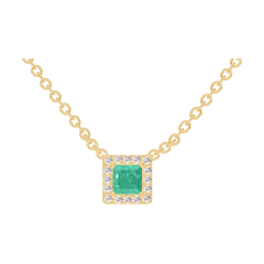 Necklace Create 202250 Yellow gold 9 carats - Emerald Princess 0.3 Carats - Halo Diamond white - Chain FORCAT