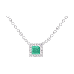 Necklace Create 202252 White gold 9 carats - Emerald Princess 0.3 Carats - Halo Diamond white - Chain FORCAT