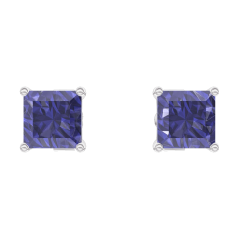 Ohrringe Create 201268 Weißgold 375/-(9Kt) - Blauer Saphir Prinzess 0.3 Karat (2 X)