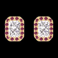 Oorbellen Create 201001 Geelgoud 18 karaat - Diamant Rechthoekig 0.3 Karaat (2 X) - Halo Robijn