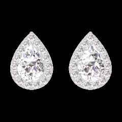 Oorbellen Create 201031 Witgoud 18 karaat - Diamant Peer 0.3 Karaat (2 X) - Halo Diamant