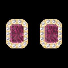 Oorbellen Create 201190 Geelgoud 9 karaat - Robijn Rechthoekig 0.3 Karaat (2 X) - Halo Diamant