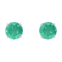 Oorbellen Create 201348 Witgoud 9 karaat - Smaragd rond 0.3 Karaat (2 X)