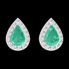 Oorbellen Create 201416 Witgoud 9 karaat - Smaragd Peer 0.3 Karaat (2 X) - Halo Diamant