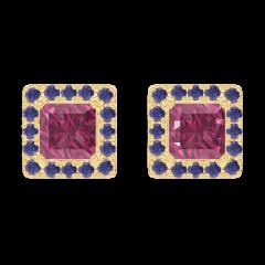 Orecchini Create 201182 Oro giallo 9 carati - Rubino Principessa 0.3 Carati (2 X) - Halo Zaffiro blu