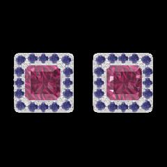 Orecchini Create 201184 Oro bianco 9 carati - Rubino Principessa 0.3 Carati (2 X) - Halo Zaffiro blu