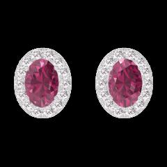 Orecchini Create 201208 Oro bianco 9 carati - Rubino Ovale 0.3 Carati (2 X) - Halo Diamante