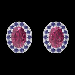 Orecchini Create 201216 Oro bianco 9 carati - Rubino Ovale 0.3 Carati (2 X) - Halo Zaffiro blu