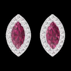 Orecchini Create 201240 Oro bianco 9 carati - Rubino Marchesa 0.3 Carati (2 X) - Halo Diamante