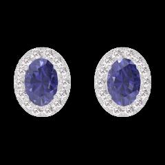 Orecchini Create 201304 Oro bianco 9 carati - Zaffiro blu Ovale 0.3 Carati (2 X) - Halo Diamante