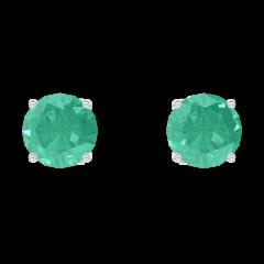 Orecchini Create 201348 Oro bianco 9 carati - Smeraldo Rotondo 0.3 Carati (2 X)