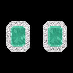 Orecchini Create 201384 Oro bianco 9 carati - Smeraldo Rettangolo 0.3 Carati (2 X) - Halo Diamante