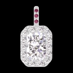 Pendant Create 202843 White gold 18 carats - Diamond white Baguette 0.3 Carats - Halo Diamond white - Setting Ruby - No Chain