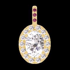 Pendant Create 203033 Yellow gold 18 carats - Diamond white Oval 0.3 Carats - Halo Diamond white - Setting Ruby -