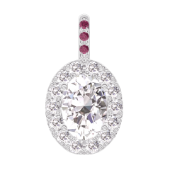 Pendant Create 203035 White gold 18 carats - Diamond white Oval 0.3 Carats - Halo Diamond white - Setting Ruby - No Chain