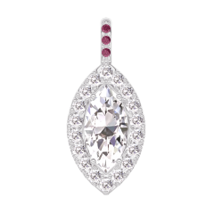 Pendant Create 203419 White gold 18 carats - Diamond white Marquise 0.3 Carats - Halo Diamond white - Setting Ruby - No Chain