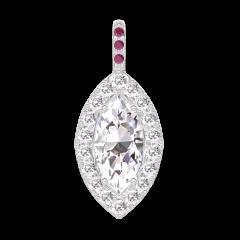Pendant Create 203419 White gold 18 carats - Diamond white Marquise 0.3 Carats - Halo Diamond white - Setting Ruby - No Chain