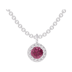 Pendant Create 204776 White gold 9 carats - Ruby round 0.3 Carats - Halo Diamond white - Setting Diamond white - Chain FORCAT