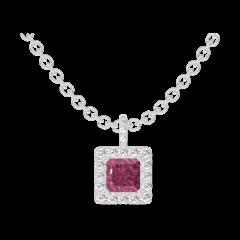 Pendant Create 204968 White gold 9 carats - Ruby Princess 0.3 Carats - Halo Diamond white - Setting Diamond white - Chain FORCAT