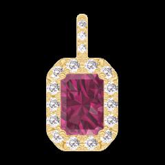 Pendant Create 205142 Yellow gold 9 carats - Ruby Baguette 0.3 Carats - Halo Diamond white - Setting Diamond white -