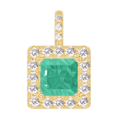 Pendant Create 207254 Yellow gold 9 carats - Emerald Princess 0.3 Carats - Halo Diamond white - Setting Diamond white - No Chain