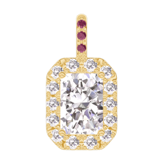 Pendentif Create 202841 Or jaune 18 carats - Diamant Rectangle 0.3 carat - Halo Diamant - Sertissage Rubis - Pas de chaîne