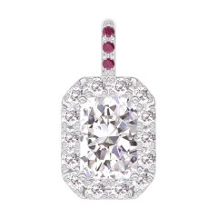 Pendentif Create 202843 Or blanc 18 carats - Diamant Rectangle 0.3 carat - Halo Diamant - Sertissage Rubis - Pas de chaîne