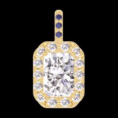 Pendentif Create 202845 Or jaune 18 carats - Diamant Rectangle 0.3 carat - Halo Diamant - Sertissage Saphir bleu - Pas de chaîne