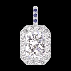 Pendentif Create 202847 Or blanc 18 carats - Diamant Rectangle 0.3 carat - Halo Diamant - Sertissage Saphir bleu - Pas de chaîne