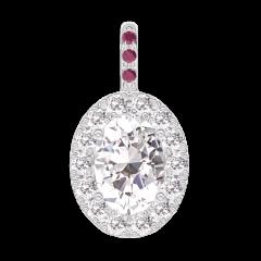 Pendentif Create 203035 Or blanc 18 carats - Diamant Ovale 0.3 carat - Halo Diamant - Sertissage Rubis - Pas de chaîne