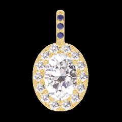 Pendentif Create 203037 Or jaune 18 carats - Diamant Ovale 0.3 carat - Halo Diamant - Sertissage Saphir bleu - Pas de chaîne
