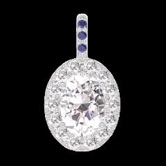 Pendentif Create 203039 Or blanc 18 carats - Diamant Ovale 0.3 carat - Halo Diamant - Sertissage Saphir bleu - Pas de chaîne