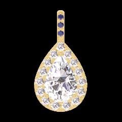 Pendentif Create 203229 Or jaune 18 carats - Diamant Poire 0.3 carat - Halo Diamant - Sertissage Saphir bleu - Pas de chaîne