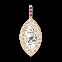 Pendentif Create 203417 Or jaune 18 carats - Diamant Marquise 0.3 carat - Halo Diamant - Sertissage Rubis - Pas de chaîne