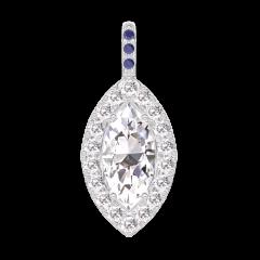 Pendentif Create 203423 Or blanc 18 carats - Diamant Marquise 0.3 carat - Halo Diamant - Sertissage Saphir bleu - Pas de chaîne