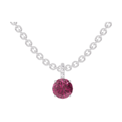 Pendentif Create 204728 Or blanc 9 carats - Rubis Rond 0.3 carat - Sertissage Diamant - Chaîne FORCAT