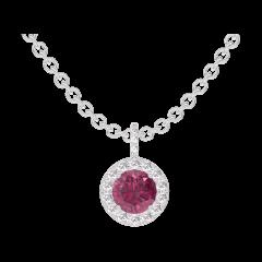 Pendentif Create 204776 Or blanc 9 carats - Rubis Rond 0.3 carat - Halo Diamant - Sertissage Diamant - Chaîne FORCAT