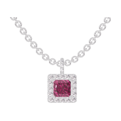 Pendentif Create 204968 Or blanc 9 carats - Rubis Princesse 0.3 carat - Halo Diamant - Sertissage Diamant - Chaîne FORCAT