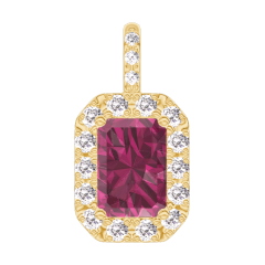 Pendentif Create 205142 Or jaune 9 carats - Rubis Rectangle 0.3 carat - Halo Diamant - Sertissage Diamant - Pas de chaîne