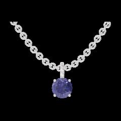 Pendentif Create 205880 Or blanc 9 carats - Saphir bleu Rond 0.3 carat - Sertissage Diamant - Chaîne FORCAT