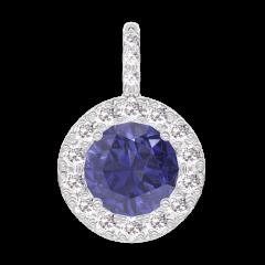 Pendentif Create 205912 Or blanc 9 carats - Saphir bleu Rond 0.3 carat - Halo Diamant - Sertissage Diamant - Pas de chaîne