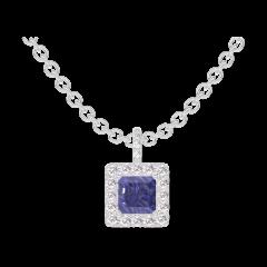 Pendentif Create 206120 Or blanc 9 carats - Saphir bleu Princesse 0.3 carat - Halo Diamant - Sertissage Diamant - Chaîne FORCAT
