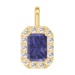 Pendentif Create 206290 Or jaune 9 carats - Saphir bleu Rectangle 0.3 carat - Halo Diamant - Pas de chaîne