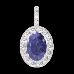 Pendentif Create 206488 Or blanc 9 carats - Saphir bleu Ovale 0.3 carat - Halo Diamant - Sertissage Diamant - Pas de chaîne